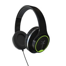Flips black headphones with lime trim